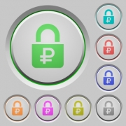 Locked Rubles color icons on sunk push buttons - Locked Rubles push buttons