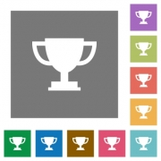 Trophy cup flat icons on simple color square background. - Trophy cup square flat icons