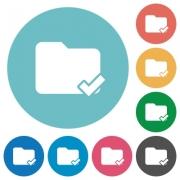 Folder ok white flat icons on color rounded square backgrounds - Folder ok flat icons