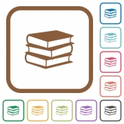 Books simple icons in color rounded square frames on white background - Books simple icons