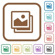 Pictures simple icons in color rounded square frames on white background - Pictures simple icons