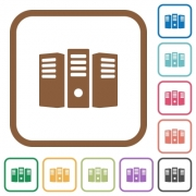 Server hosting simple icons in color rounded square frames on white background - Server hosting simple icons