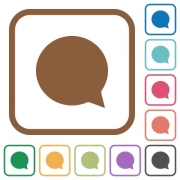 Chat simple icons in color rounded square frames on white background - Chat simple icons