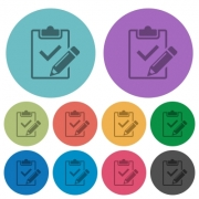 Fill out checklist flat icons on color round background. - Fill out checklist color flat icons