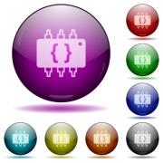 Hardware programming color glass sphere buttons with shadows. - Hardware programming glass sphere buttons