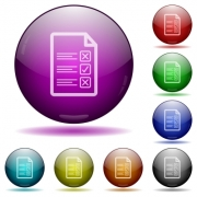 Questionnaire document color glass sphere buttons with shadows. - Questionnaire document glass sphere buttons