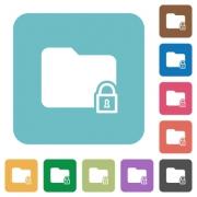 Locked folder flat icons on simple color square background. - Locked folder square flat icons