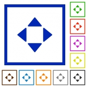 Control arrows flat color icons in square frames - Control arrows flat framed icons