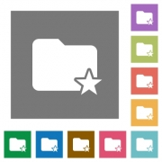 Rank folder flat icons on simple color square background. - Rank folder square flat icons