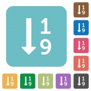 Ascending numbered list flat icons on simple color square background. - Ascending numbered list square flat icons