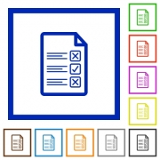 Questionnaire document flat color icons in square frames - Questionnaire document flat framed icons
