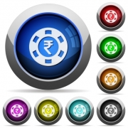 Indian Rupee casino chip icons in round glossy buttons with steel frames - Indian Rupee casino chip glossy buttons