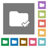 Folder ok flat icons on simple color square background. - Folder ok square flat icons