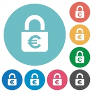 Locked euros white flat icons on color rounded square backgrounds - Locked euros flat icons
