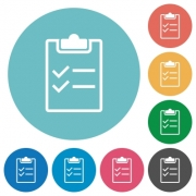 Checklist white flat icons on color rounded square backgrounds - Checklist flat icons
