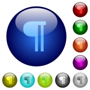 Text paragraph icons on round color glass buttons - Text paragraph color glass buttons