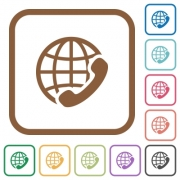 International call simple icons in color rounded square frames on white background - International call simple icons