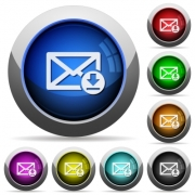 Receive mail icons in round glossy buttons with steel frames - Receive mail glossy buttons