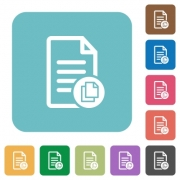 Copy document flat icons on simple color square background. - Copy document square flat icons