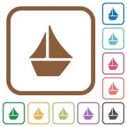 Sailboat simple icons in color rounded square frames on white background - Sailboat simple icons
