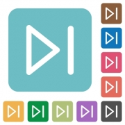 Media next flat icons on simple color square background. - Media next square flat icons