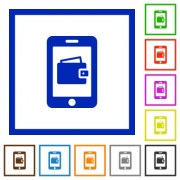 Mobile wallet flat color icons in square frames - Mobile wallet flat framed icons