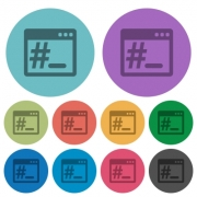 OS root terminal flat color icons in round outlines - OS root terminal flat icons with outlines