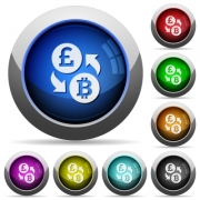 Pound Bitcoin icons in round glossy buttons with steel frames - Pound Bitcoin glossy buttons