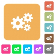 Gears icons on rounded square vivid color backgrounds. - Gears rounded square flat icons