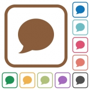 Blog comment simple icons in color rounded square frames on white background - Blog comment simple icons