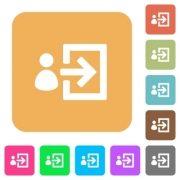 User login icons on rounded square vivid color backgrounds. - User login rounded square flat icons