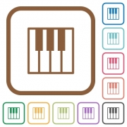 Piano keyboard simple icons in color rounded square frames on white background - Piano keyboard simple icons