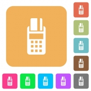 POS terminal icons on rounded square vivid color backgrounds. - POS terminal rounded square flat icons