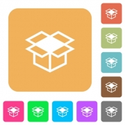 Open box icons on rounded square vivid color backgrounds. - Open box rounded square flat icons