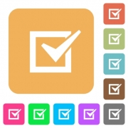 Checked box icons on rounded square vivid color backgrounds. - Checked box rounded square flat icons