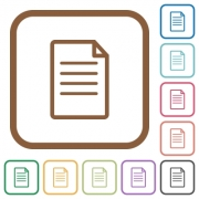 Document simple icons in color rounded square frames on white background - Document simple icons