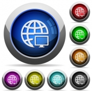 Remote terminal icons in round glossy buttons with steel frames - Remote terminal glossy buttons