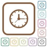 Clock simple icons in color rounded square frames on white background - Clock simple icons
