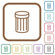 Trash simple icons in color rounded square frames on white background