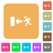 Exit sign icons on rounded square vivid color backgrounds. - Exit sign rounded square flat icons
