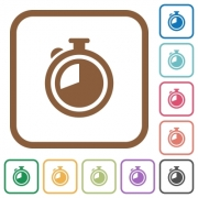 Timer simple icons in color rounded square frames on white background - Timer simple icons