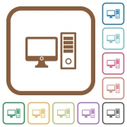 Desktop computer simple icons in color rounded square frames on white background - Desktop computer simple icons