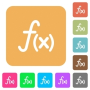 Function icons on rounded square vivid color backgrounds. - Function rounded square flat icons