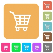 Shopping cart icons on rounded square vivid color backgrounds. - Shopping cart rounded square flat icons