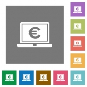 Laptop with Euro sign flat icons on simple color square backgrounds