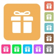 Gift box icons on rounded square vivid color backgrounds. - Gift box rounded square flat icons
