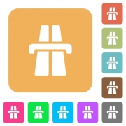 Highway icons on rounded square vivid color backgrounds. - Highway rounded square flat icons