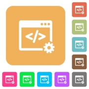 Web development icons on rounded square vivid color backgrounds.