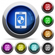 Smartphone protection icons in round glossy buttons with steel frames - Smartphone protection round glossy buttons