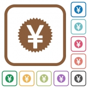 Yen sticker simple icons in color rounded square frames on white background - Yen sticker simple icons